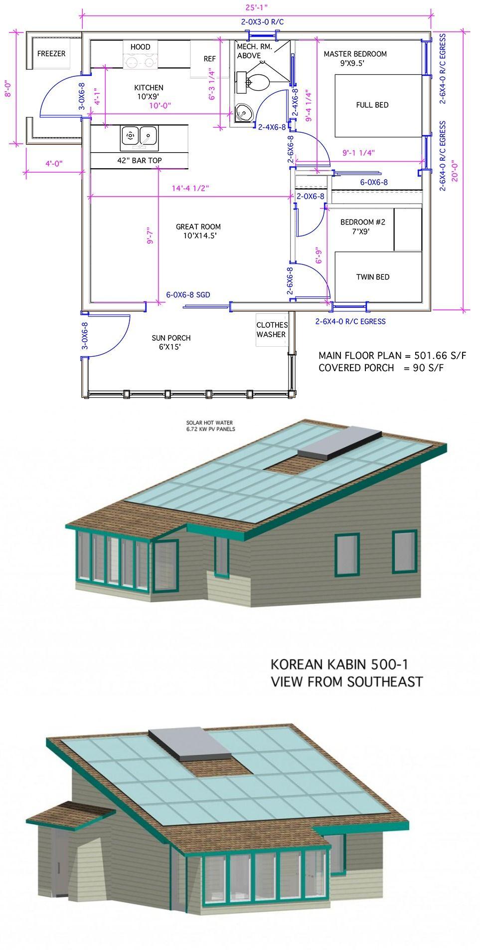 500 Sq Ft Model Is Korean Kabin Originally Designed For Developer In East Asian Market Huge Roof Area For Mechanical Room House Plans Zero Energy House