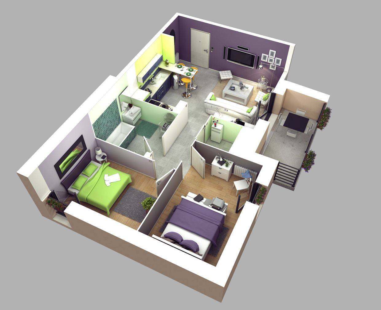 50 two 2 bedroom apartmenthouse plans - Home Bedroom Design 2