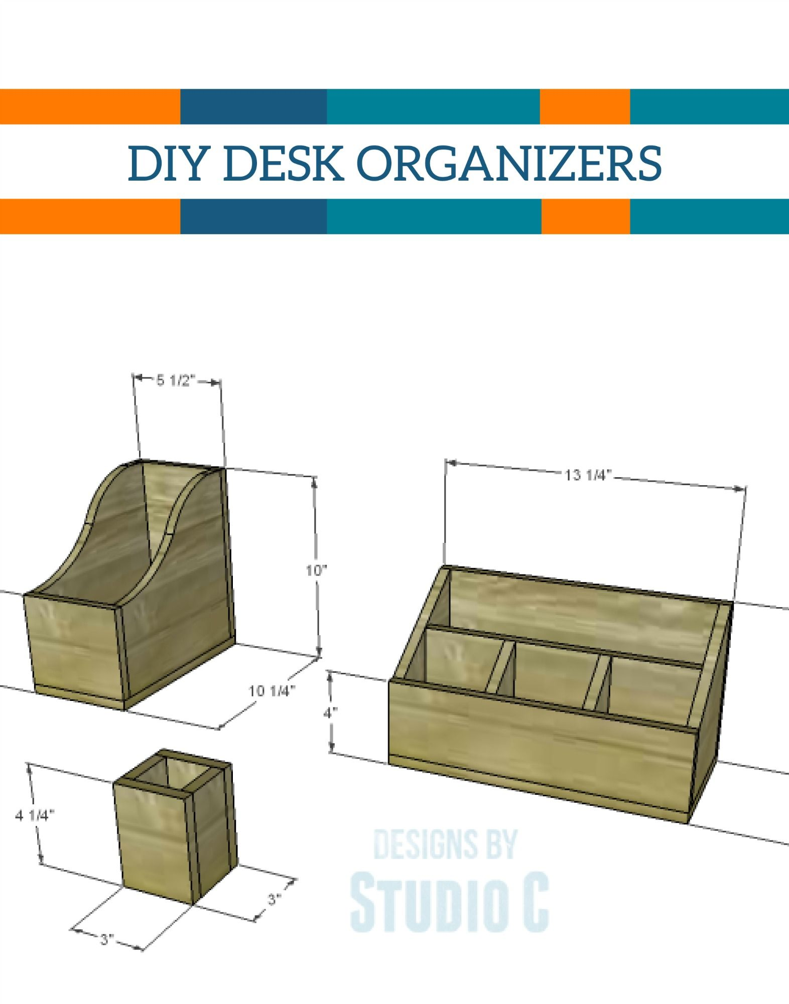 make your own wooden desk organizers for your office with this