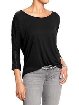 Womens Faux-Leather Trim Boatneck Tops $15 @ Old Navy