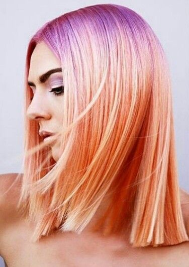 Purple orange pastel hair @american_salon