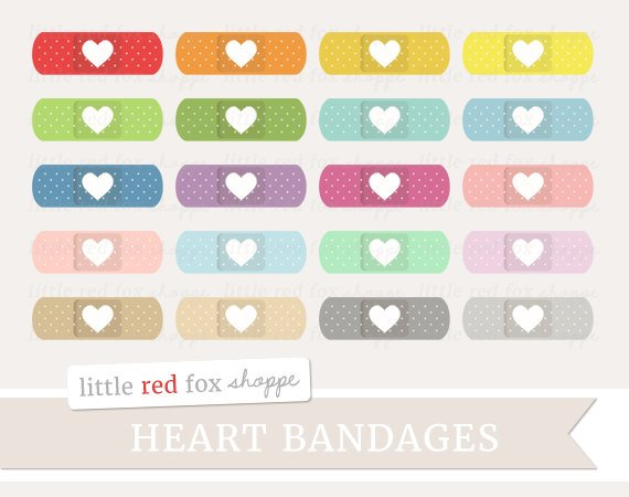 Heart Bandage Clipart Bandaid Clip Art Band Aid Health First Etsy Digital Graphic Design Clip Art Promotional Banners