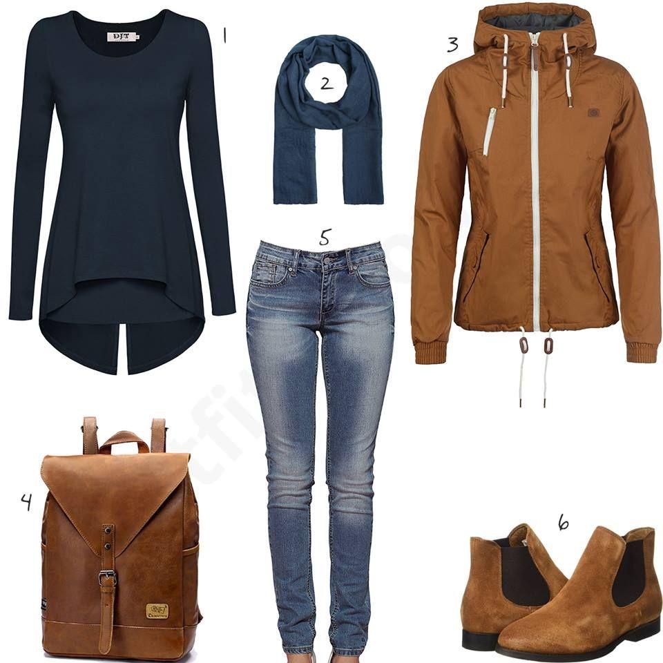 Herbst Outfit für Damen mit Schal und Rucksack (w0621