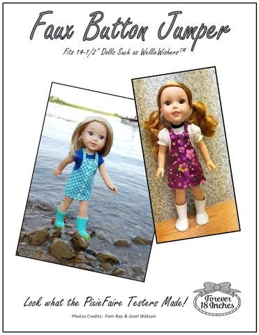 Forever 18 Inches Faux Button Jumper Doll Clothes Pattern For WellieWishers Dolls | Pixie Faire
