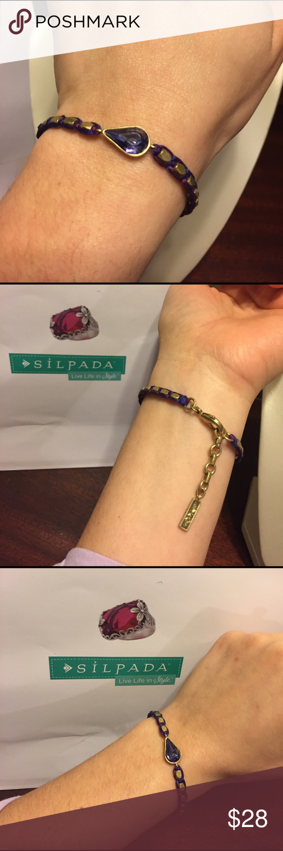 Silpada bracelet Beautiful purple and brass coloring with purple cord details surrounding, this is has an extender so it should fit quite a variety of wrist sizes. Silpada Jewelry Bracelets