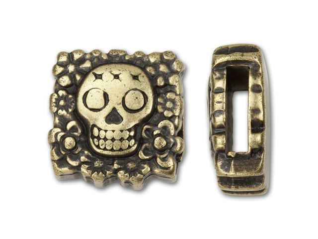 Regaliz Antique Brass-Plated 10x2.5mm Square Skull Slider Bead