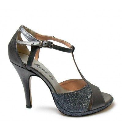 on sale 81234 779bd Scarpa da ballo latino e tango raso e glitter antracite ...