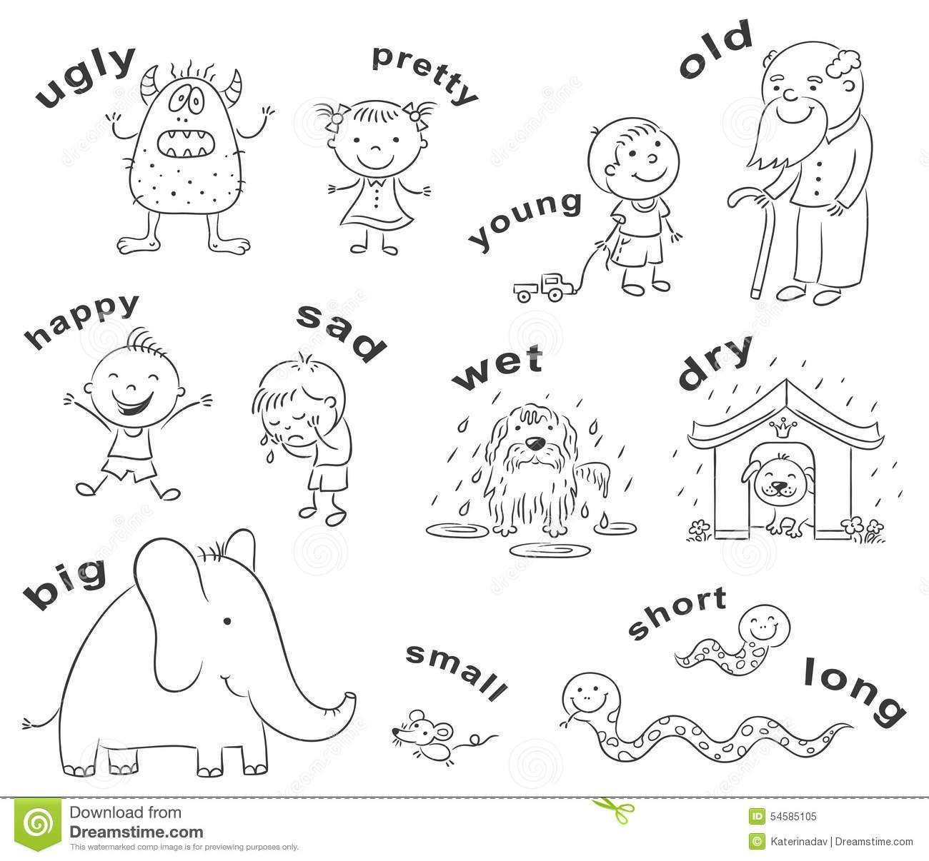 Antonyms Cartoons Black And White