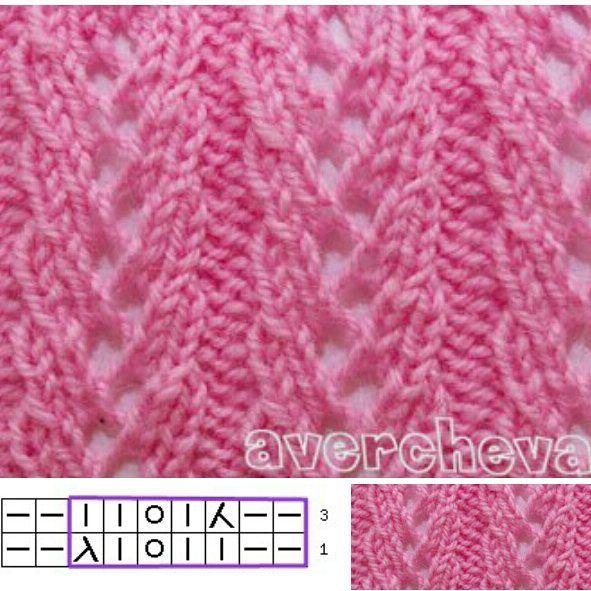 простые ажурные узоры для вязания