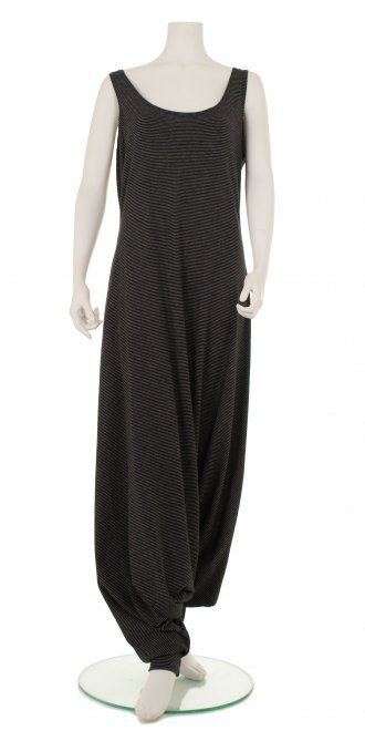 93a44fed424 Funky black   fine white stripe lagenlook jumpsuit from one of our  favourite Dutch designers.