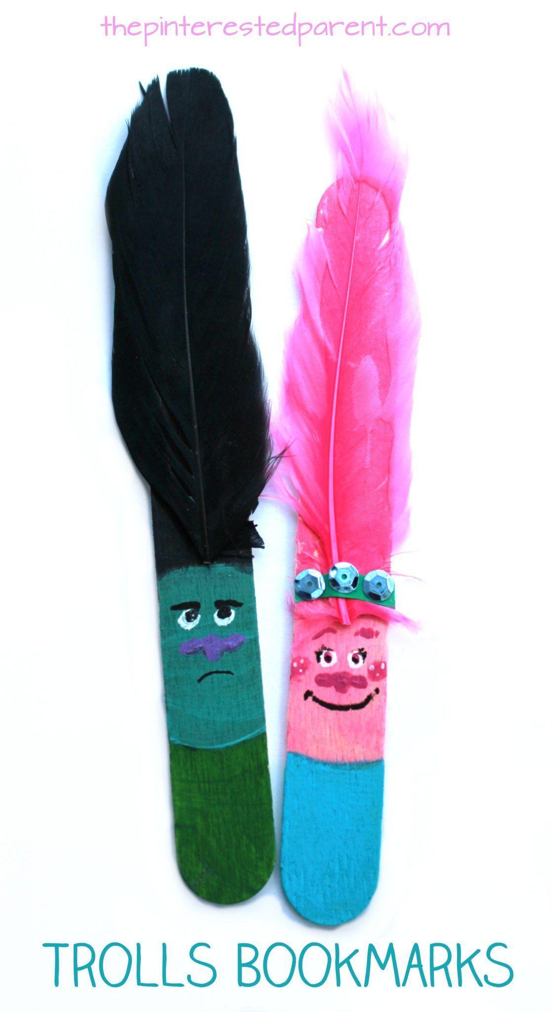 Craft Stick Trolls Bookmarks – The Pinterested Parent