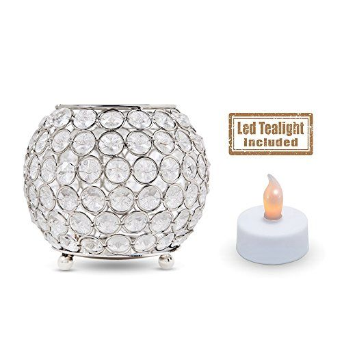 """Acrylic Crystal Beaded Tealight Candle Holder With Flameless Battery Operated Tea Light Included - Round Silver Metal Candle Holder Set For Party Table Decoration Or Home Decor (5.91"""" x 5.91"""" x 4.33"""") >>> See this great image @"""