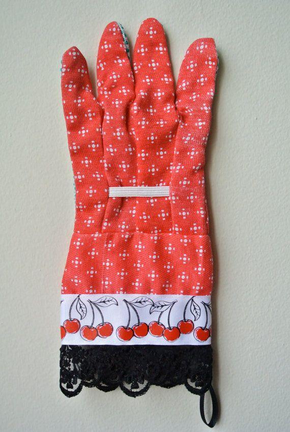 designer gardening gloves. Designer Garden Gloves  As seen in Better Homes and Gardens DIY Magazine Red Cherries One Size Fits All