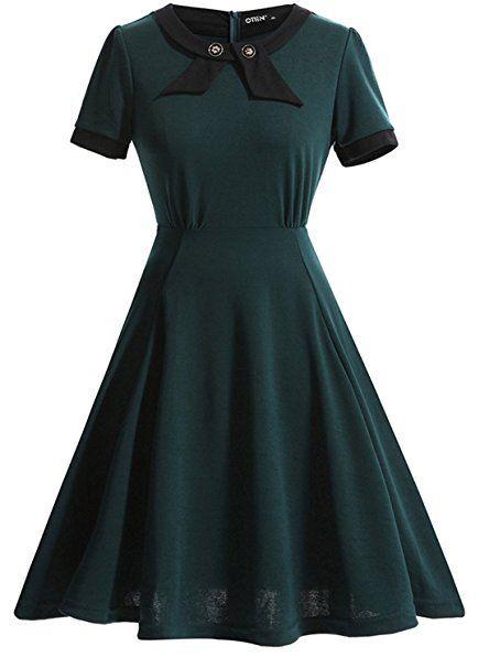 Ihot Women S Elegant Casual Bow 1950s Vintage Dress Retro Evening