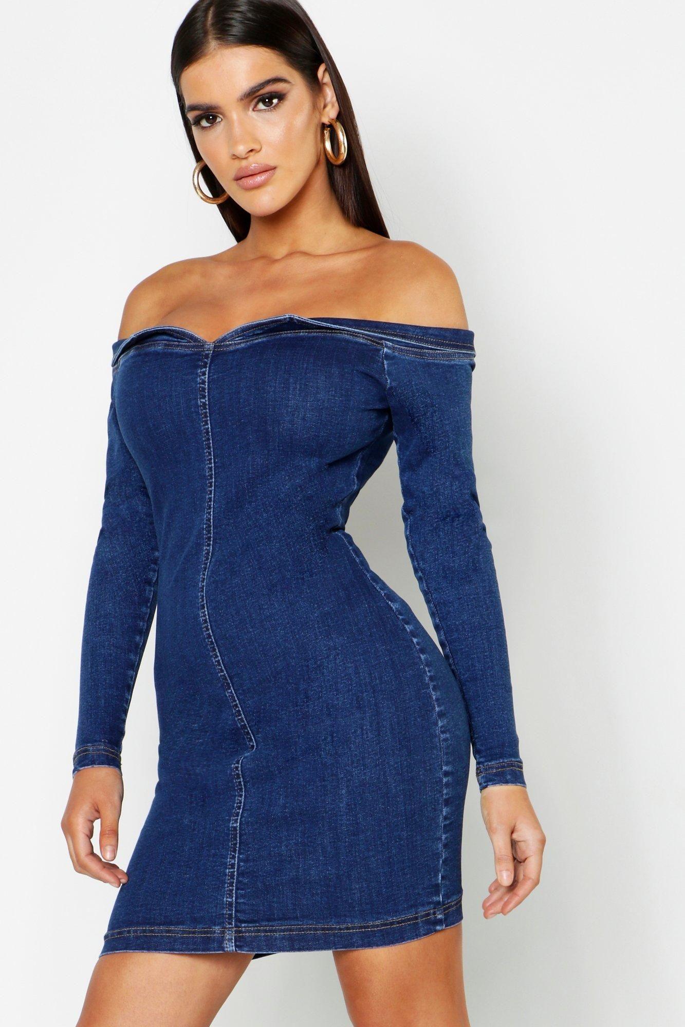 Bodycon Off The Shoulder Stretch Denim Dress Denim dress