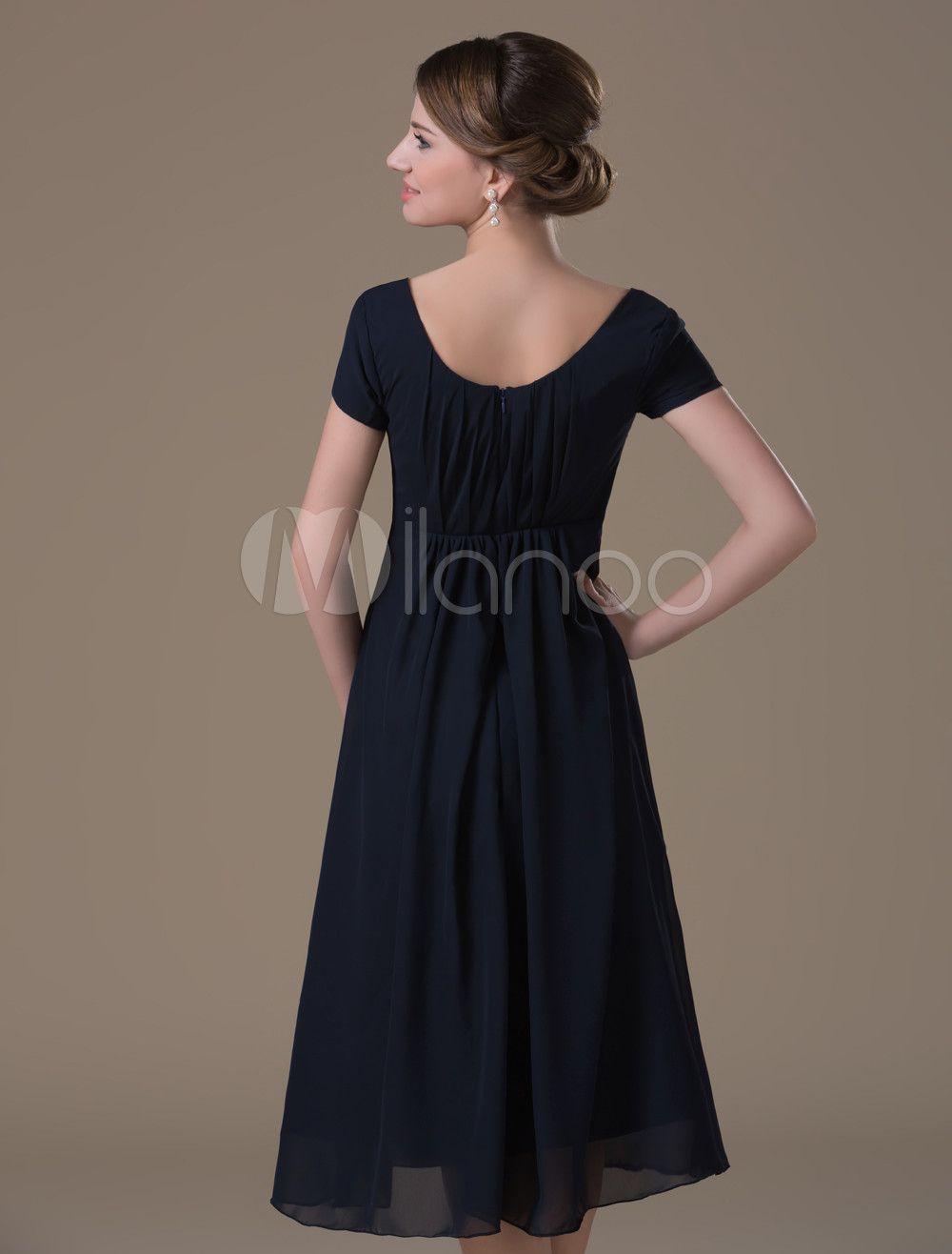 2d44e4328f A-line Dark Navy Chiffon Maternity Bridesmaid Dress with Jewel Neck High  Rise Waist