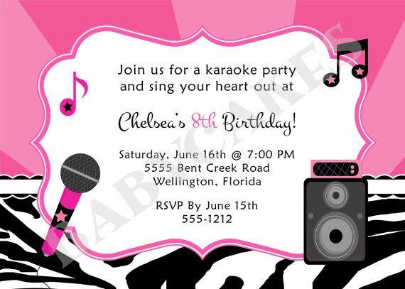 Karaoke Birthday Party Invitation Invite Digital Printable Etsy Karaoke Party Rockstar Birthday Party Music Party Invitations