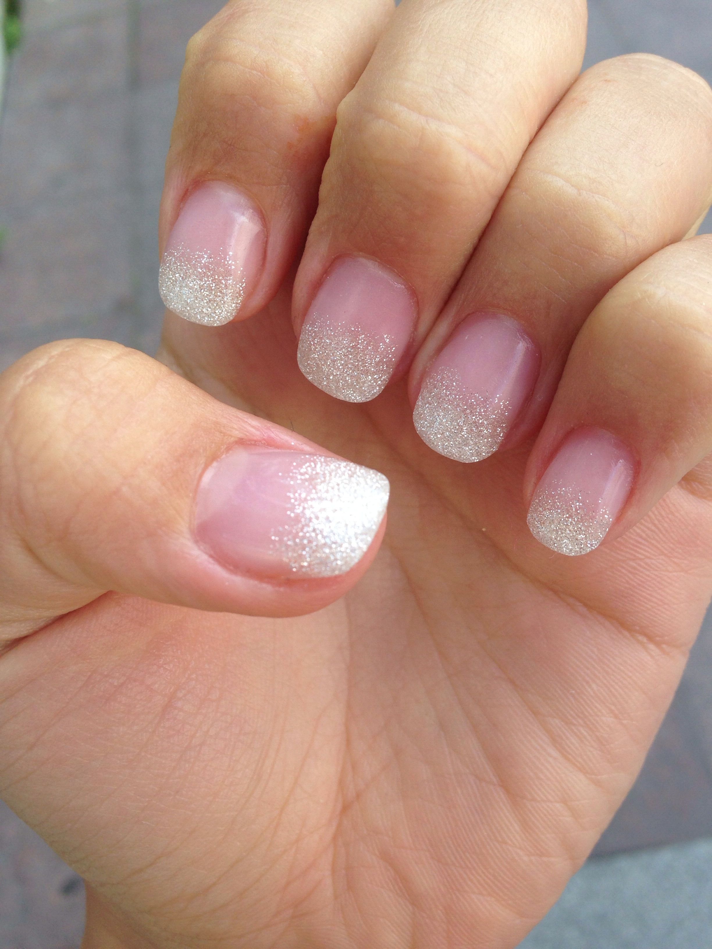 My first set of acryl nails, squoval shape, glitter faded french ...