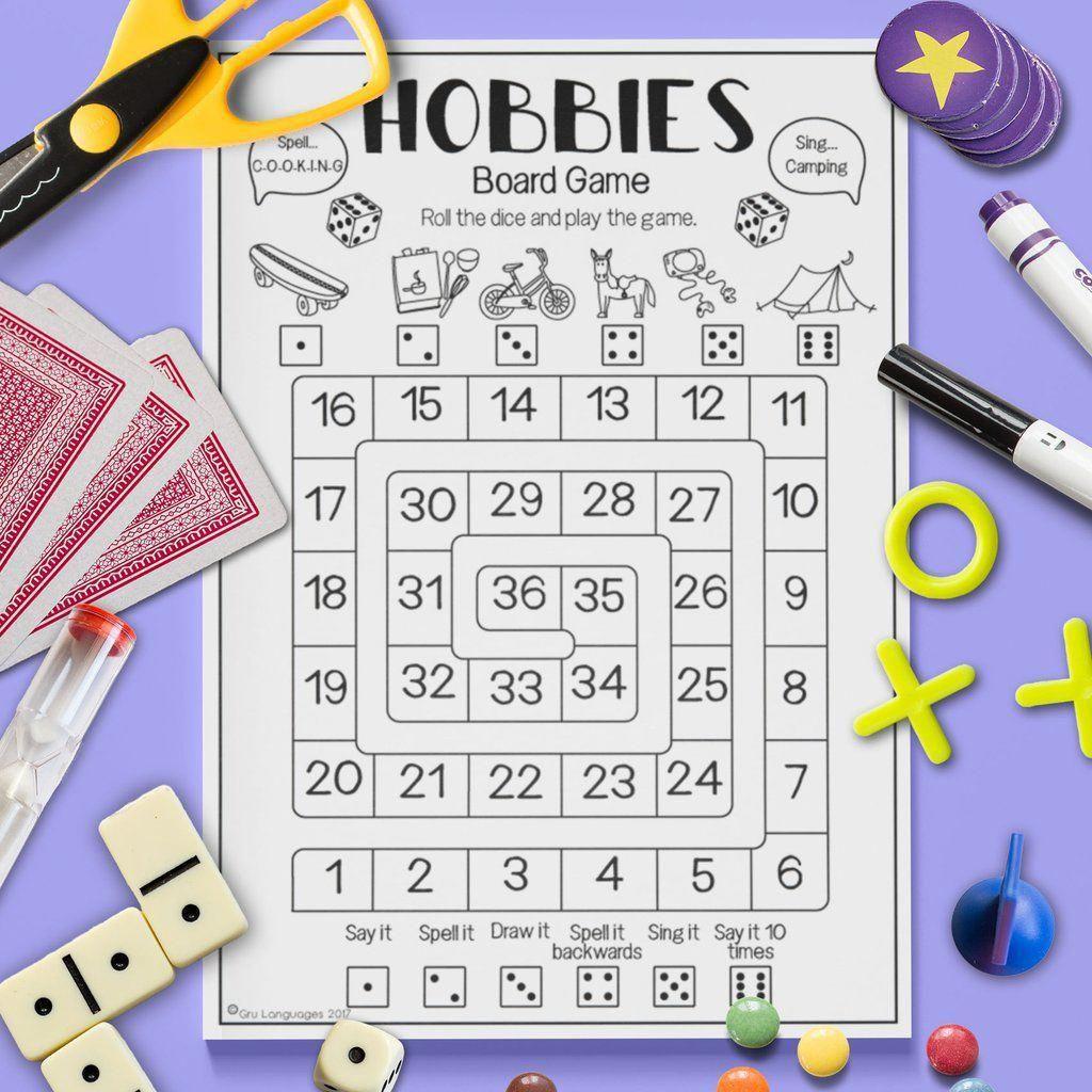 Esl Kids Hobbies Board Game Activity Worksheet Esl