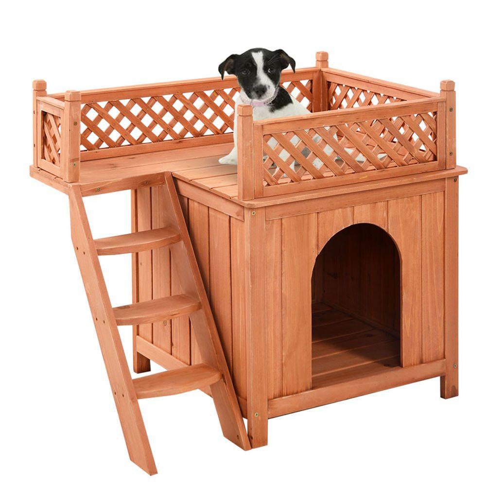 Wood Pet Dog House Wooden Puppy Room Indoor & Outdoor Roof Balcony ...