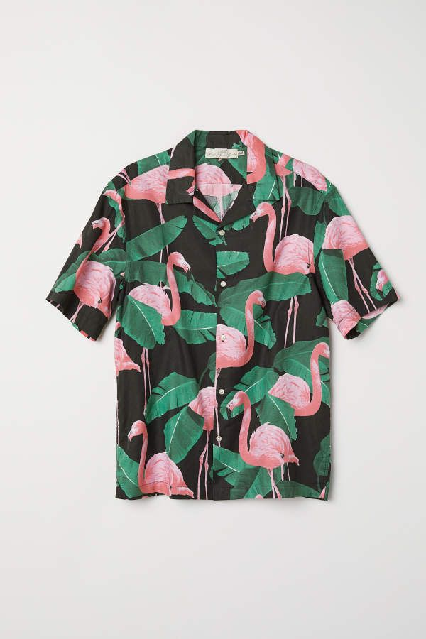 b6850173e51 H M H   M - Relaxed Fit Cotton Shirt - Black flamingos - Men ...