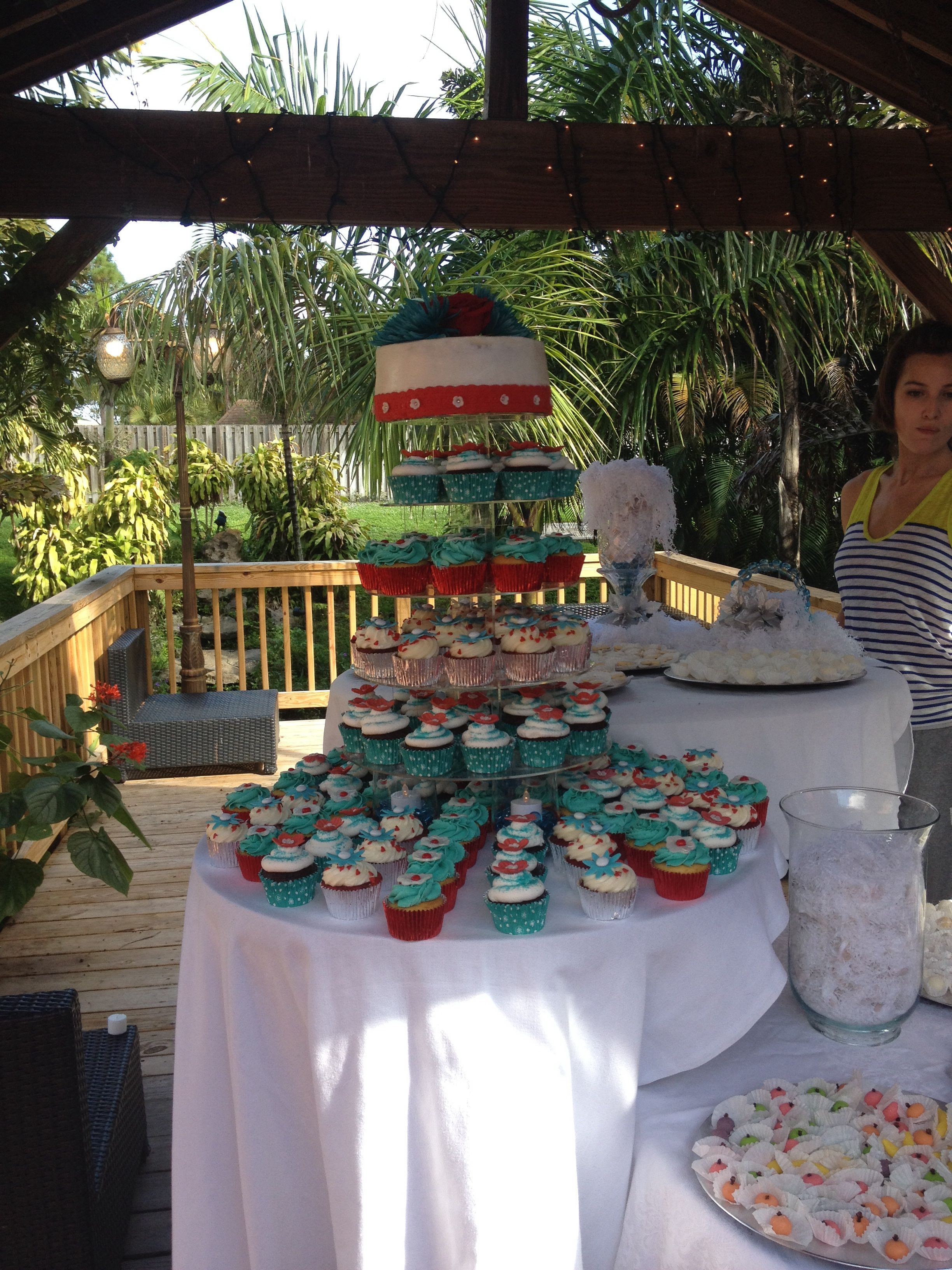 Teal, silver and red wedding