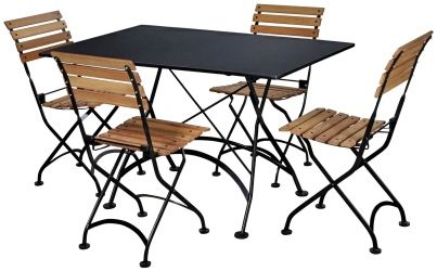 French Bistro Rectangular Steel Outdoor Folding Table with Chairs ...