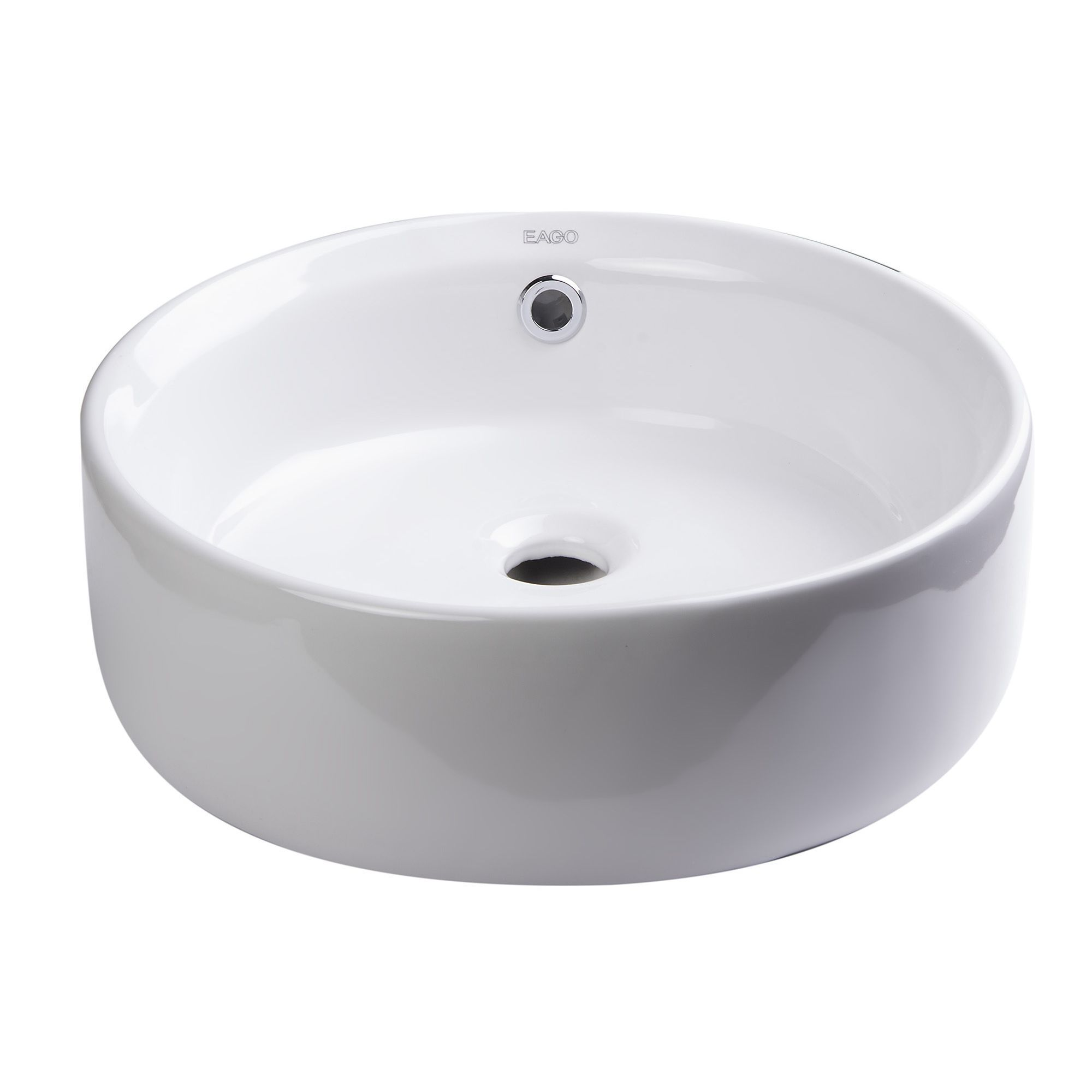Eago Ceramic 16 Inch Round Above Mount Bathroom Vessel Sink White Sink Vessel Sink Vessel Sink Bathroom