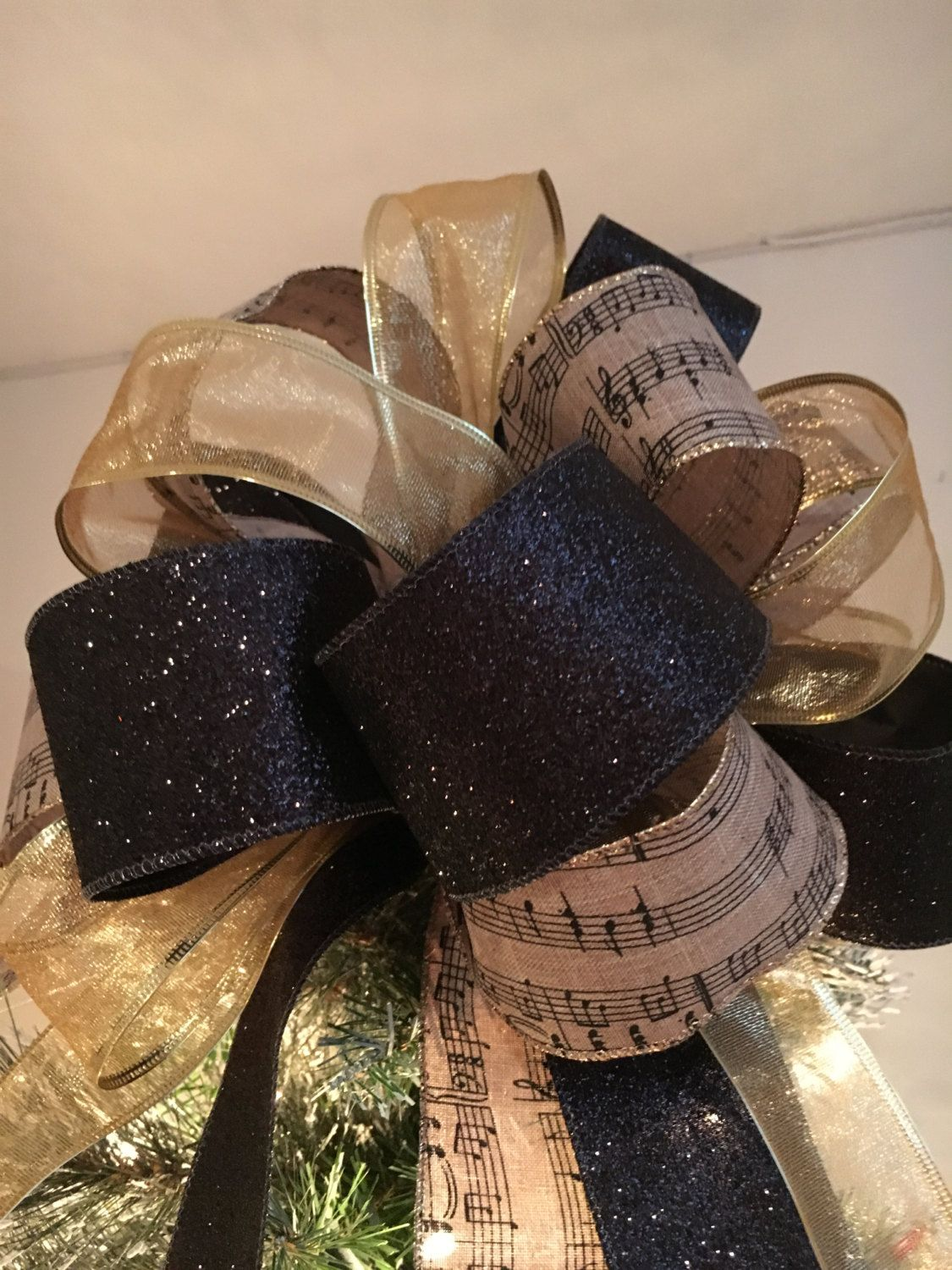 Christmas Tree Topper Bow Black Glitter, Sheer Gold And Burlap Sheet Music  Printed Ribbons By