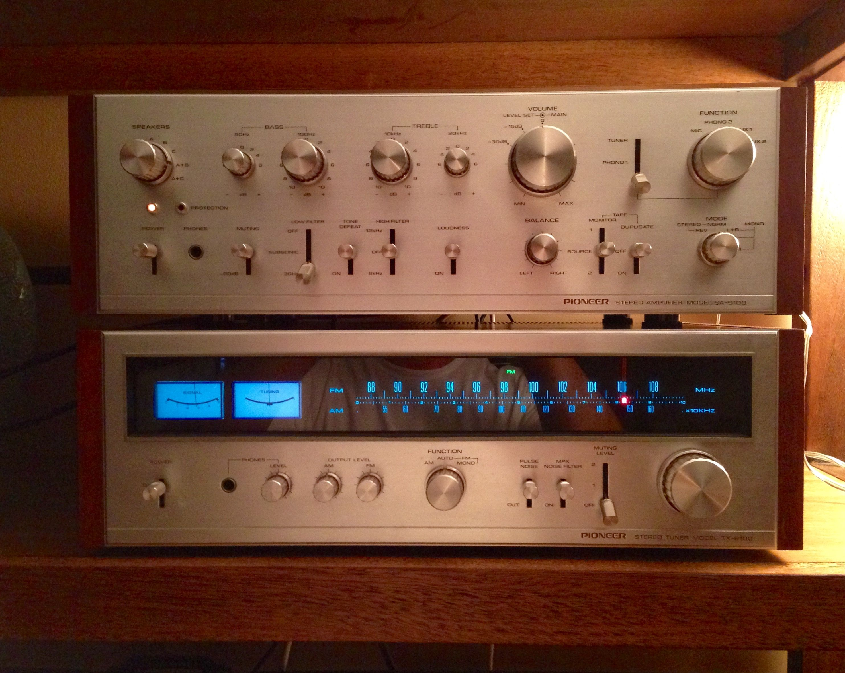 Circa 1973 Pioneer SA9100 / TX9100 amplifier and tuner. I just had this vintage piece restored and she sounds beautiful!