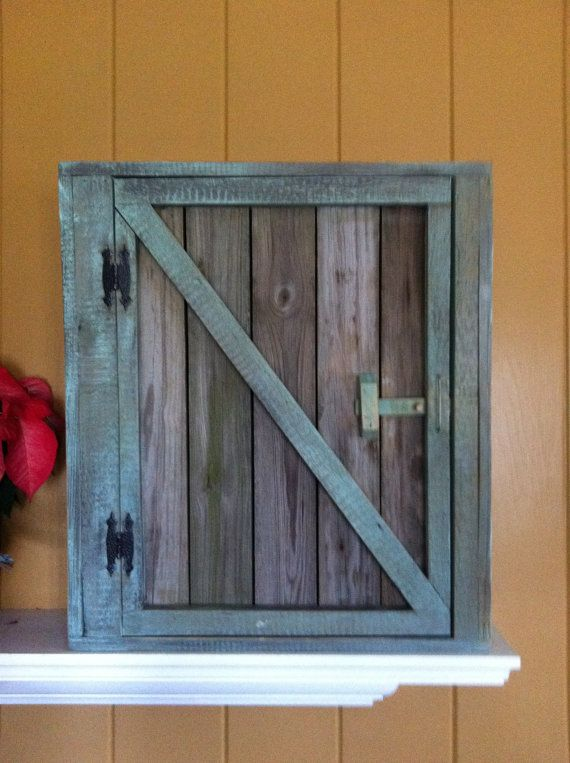 Old Reclaimed Wood Barn Door Wall Cabinet With Wainscoting Back And