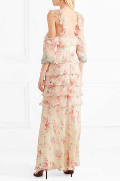 Vilshenko | Alisanna cold shoulder printed crinkled silk