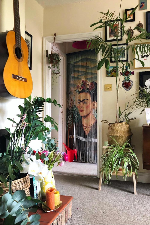 Rideau De Porte Frida Kahlo Perles En Bambou Motif Vintage Rideau De Porte Rideaux Rideaux De Perles Pour Porte