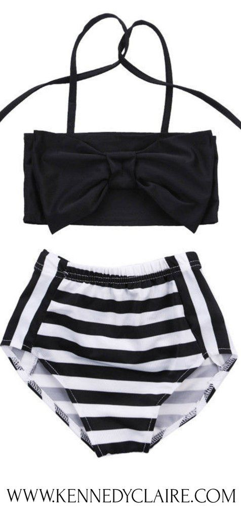 ca4488e94a6de Toddler Bikini, Toddler Swimsuit. Vintage inspired toddler bikini set with  bow-knot top and high waist bottoms. This stunning black and white toddler  ...