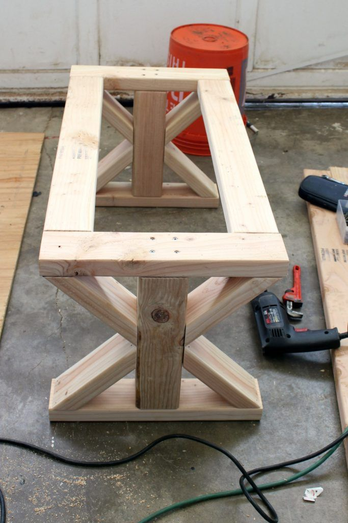 DIY 2x4 Upholstered Farmhouse Style Bench -
