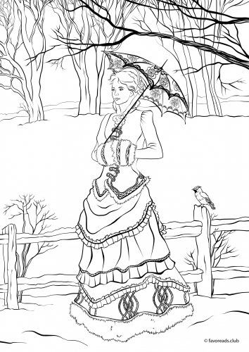 Victorian winter fashion from exclusive victorian coloring for Victorian christmas coloring pages