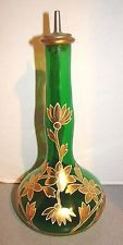 Victorian Glass Gold Florals On Green Barber Bottle