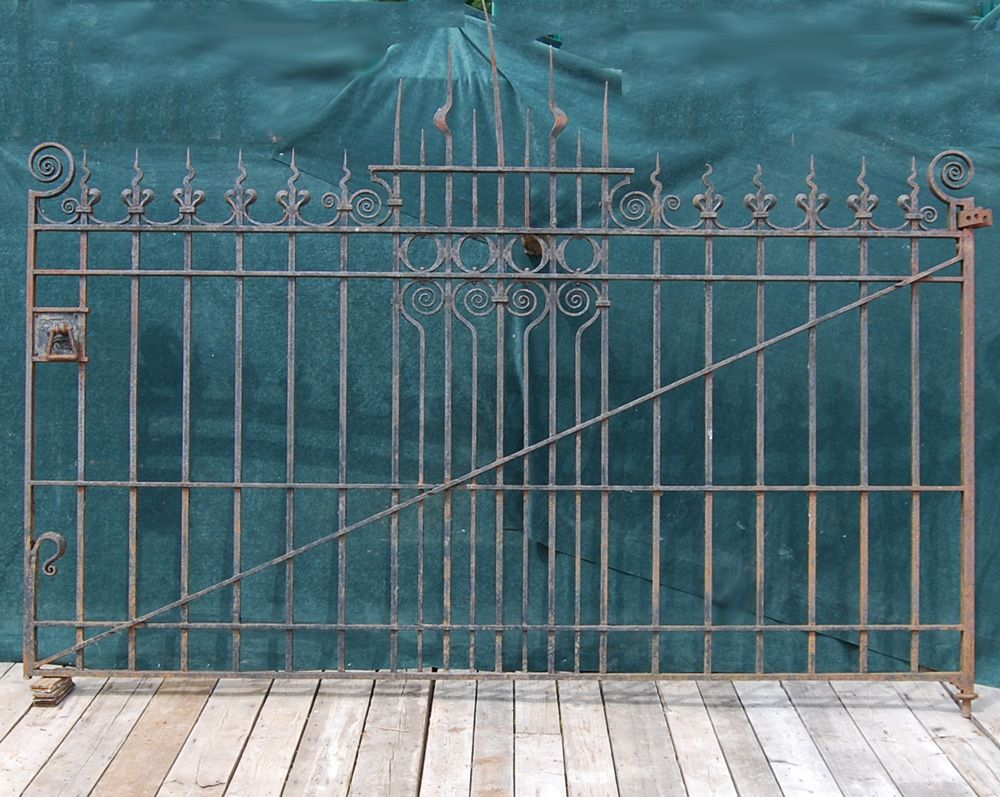 An Arts And Crafts Wrought Iron Driveway Gate Wrought Iron
