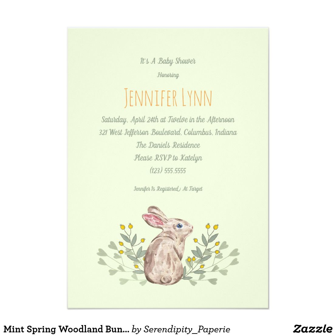 Mint Spring Woodland Bunny Baby Shower Invitation