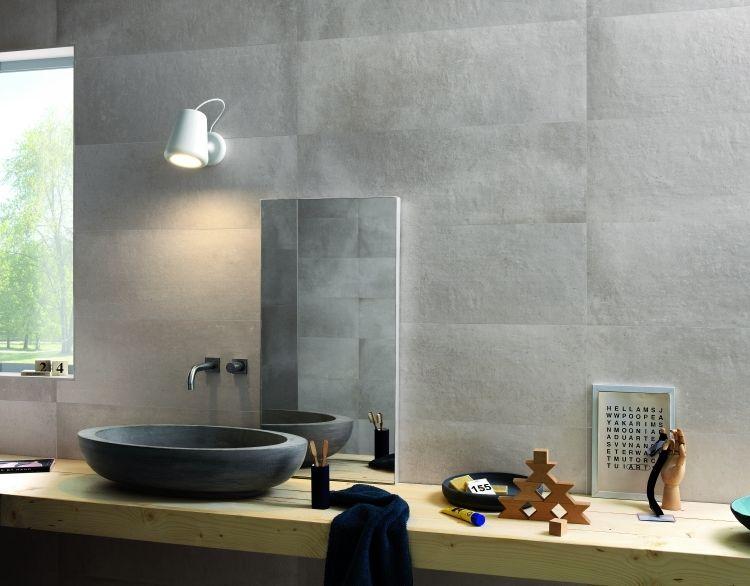 Badfliesen Ideen Grau Holztisch Marmor Beton Optik Modern Waschbecken Oval