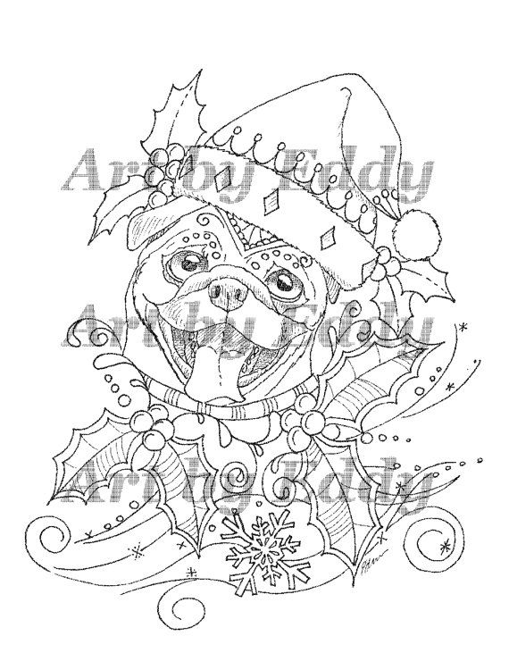 Art Of Pug Single Coloring Page Merry Christmas Pug Coloring Pages Coloring Books Dog Coloring Page