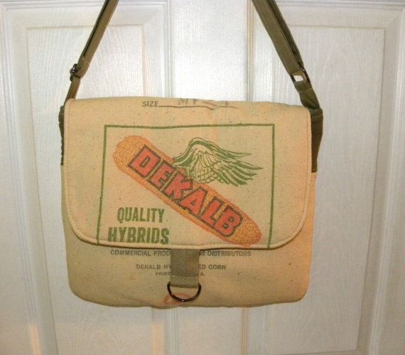 Vintage Dekalb flying corn seed sack upcycled by LoriesBags