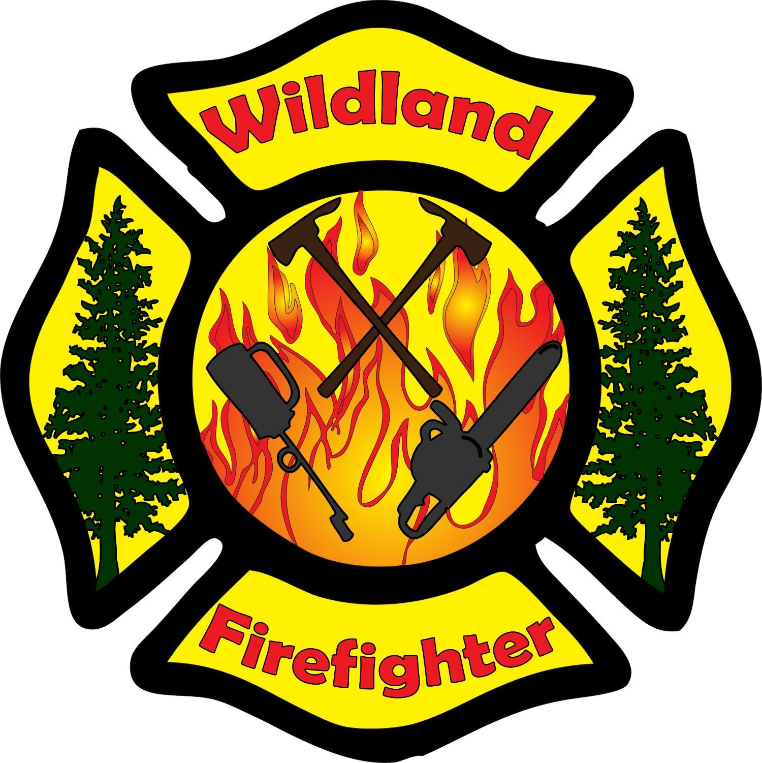 Full color wildland firefighter maltese cross decal made from 3mil permanent adhesive vinyl designed to withstand the elements up to 5 years