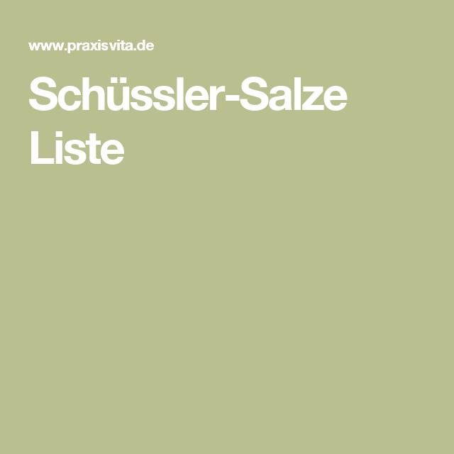 Schüssler-Salze Liste