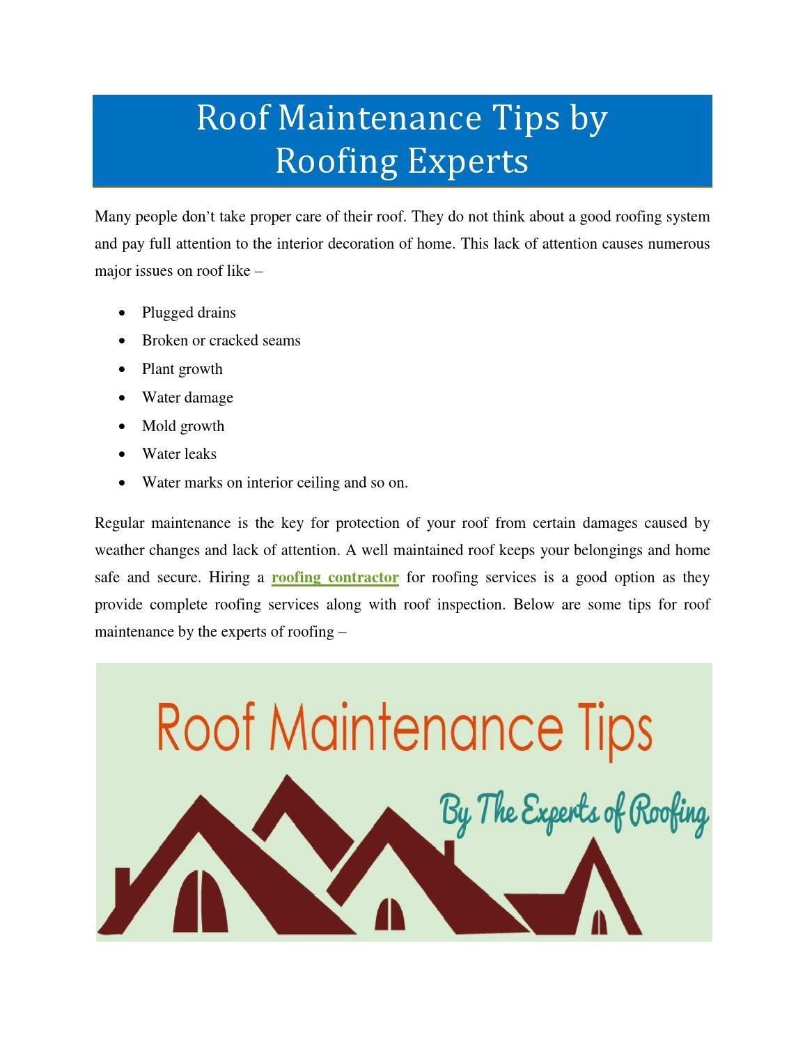 Roof Maintenance Tips By Roofing Experts Roof Maintenance Roofing Cool Roof