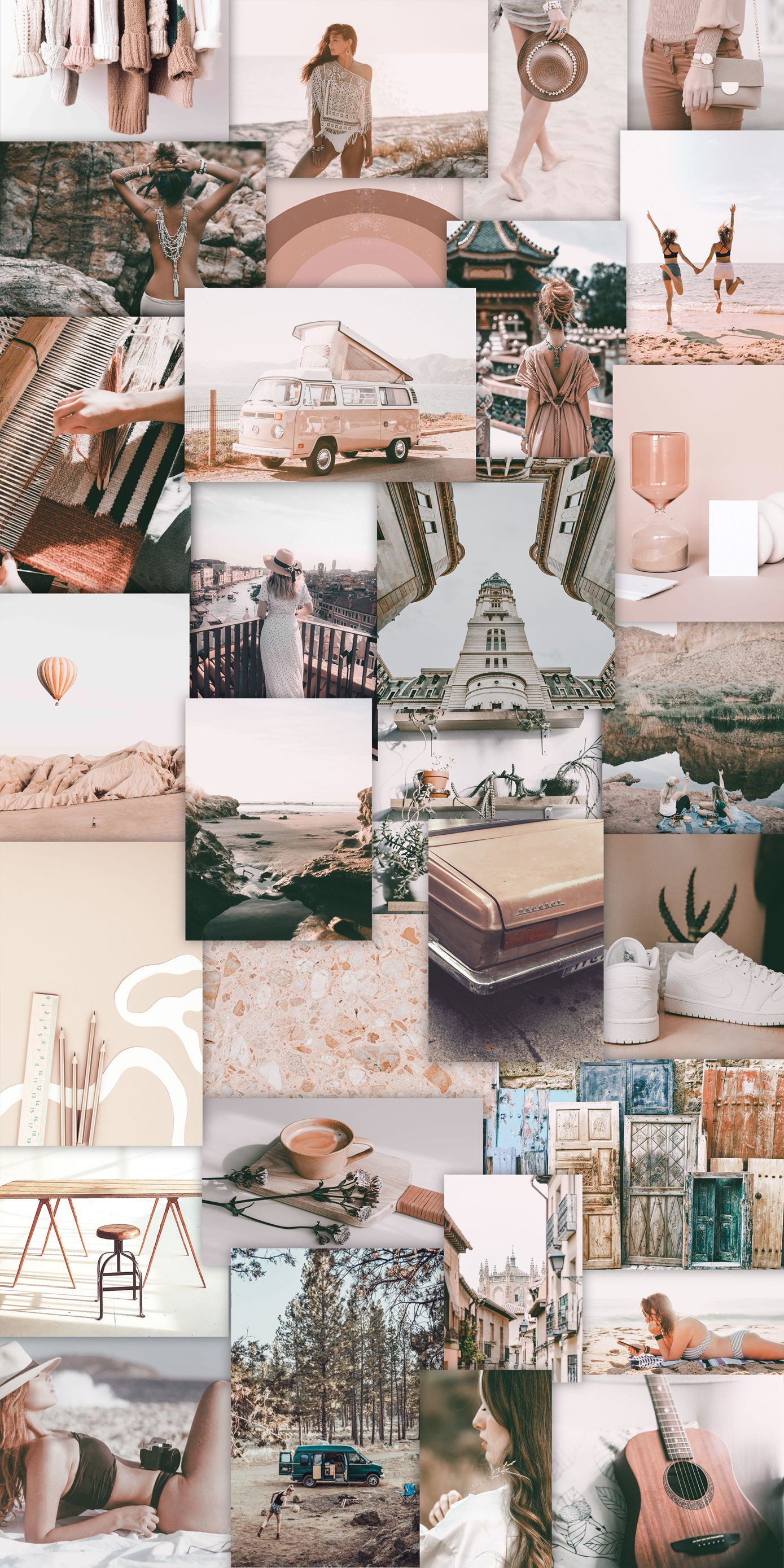 Boho Aesthetic Pictures Digital Wall Collage Kit Wall Decor Pictures Cute Home Screen Wallpaper Wall Collage