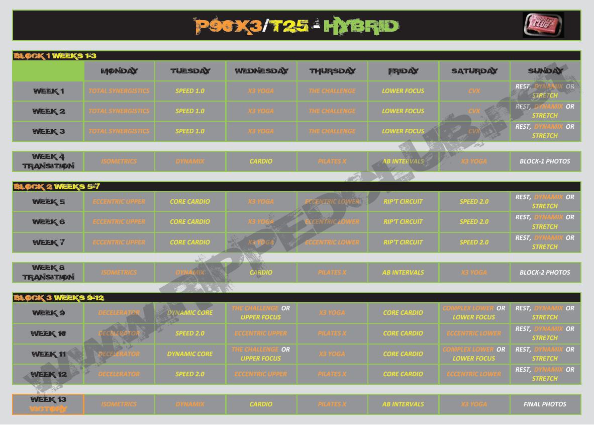 Free P90xt25hybrid Workout Calendar