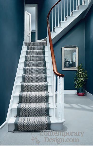 Best Zig Zag Stairs In 2020 Hallway Colours Carpet Stairs Hallway Decorating 400 x 300
