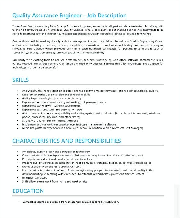 Quality Assurance Engineer Job Description , Quality Assurance - quality assurance manager resume sample