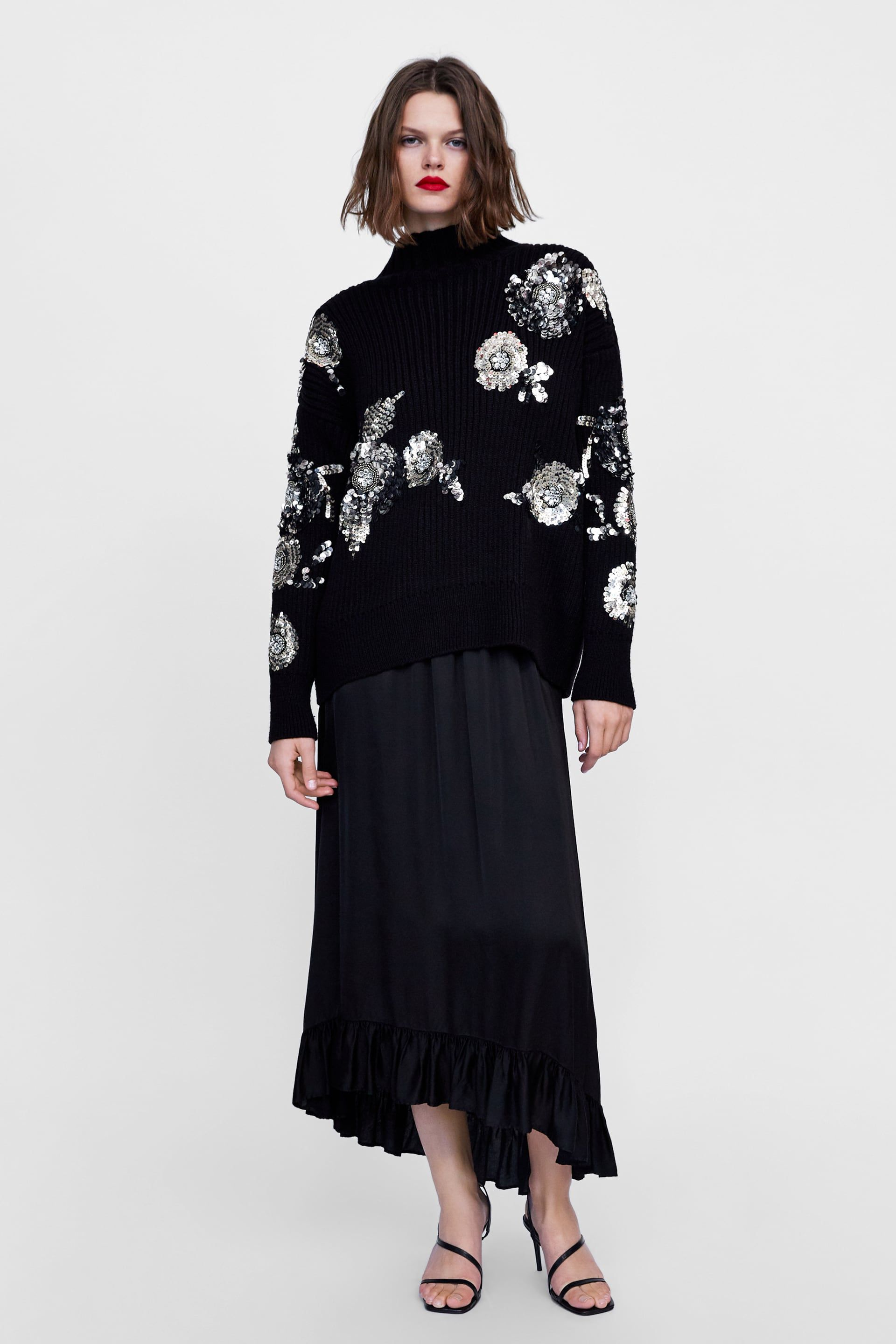 32ce7f03 Image 1 of FLORAL SWEATER WITH SEQUINS from Zara Frilly Skirt, Ruffle Skirt,  Ruffles